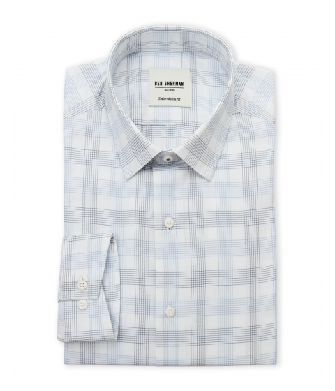 Imbracaminte Barbati Ben Sherman Blue White Plaid Slim Fit Dress Shirt Blue White