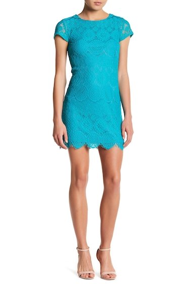 Imbracaminte Femei Laundry by Shelli Segal Lace Cap Sleeve Dress Petite TROPICAL GREEN