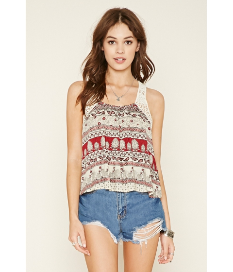 Imbracaminte Femei Forever21 Abstract Crochet-Trim Crop Top Creammulti