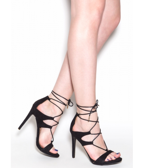 Incaltaminte Femei CheapChic Style Star Faux Suede Lace-up Heels Black