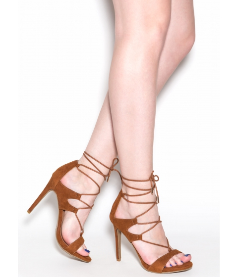 Incaltaminte Femei CheapChic Style Star Faux Suede Lace-up Heels Chestnut