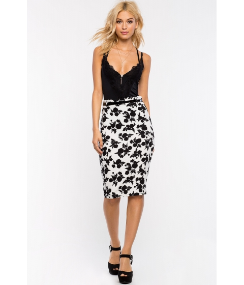 Imbracaminte Femei CheapChic Floral Belted Pencil Skirt BlackWhite Prt