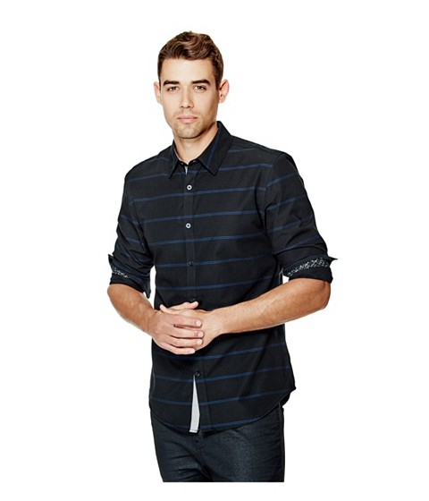 Imbracaminte Barbati GUESS Caselli Long-Sleeve Striped Shirt jet black