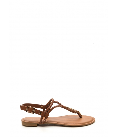 Incaltaminte Femei CheapChic Outer Limits Faux Leather T-strap Sandals Chestnut