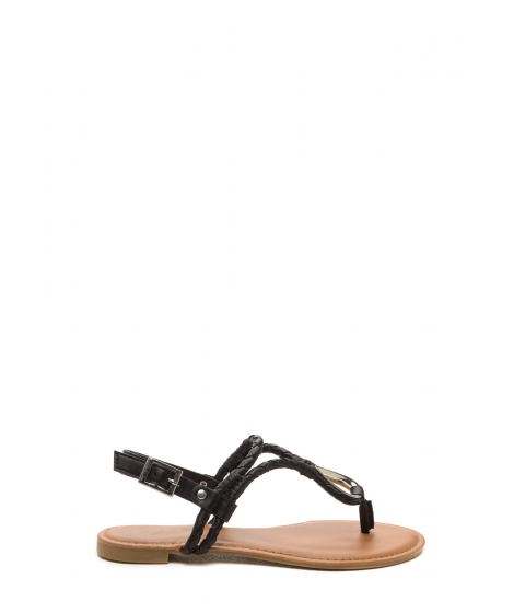 Incaltaminte Femei CheapChic Outer Limits Faux Leather T-strap Sandals Black