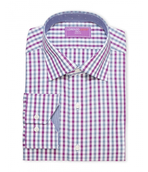 Imbracaminte Barbati Lorenzo Uomo Purple Plaid Trim Fit Dress Shirt Purple