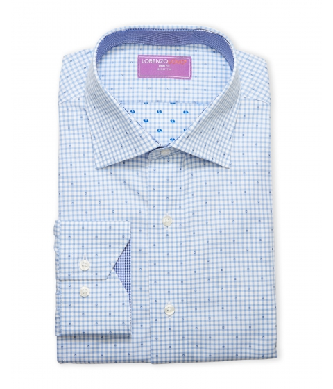 Imbracaminte Barbati Lorenzo Uomo Blue White Gingham Check Trim Fit Dress Shirt Bluewht