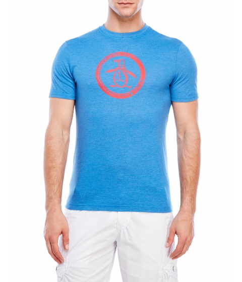 Imbracaminte Barbati Original Penguin Tri-Blend Distressed Circle Logo Tee Snorkel Blue
