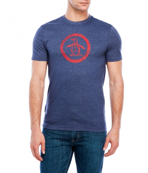 Imbracaminte Barbati Original Penguin Tri-Blend Distressed Circle Logo Tee Medieval Blue