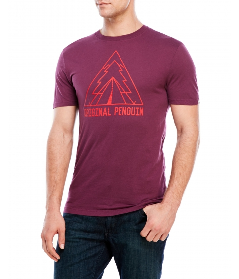Imbracaminte Barbati Original Penguin Outdoorsy Outline Tee Italian Plum