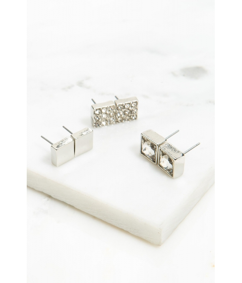 Bijuterii Femei CheapChic Squared Out 3 Pair Earring Set Met Slvr