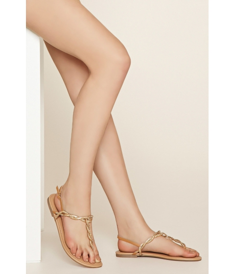 Incaltaminte Femei Forever21 Rhinestone Faux Leather Sandals Tan