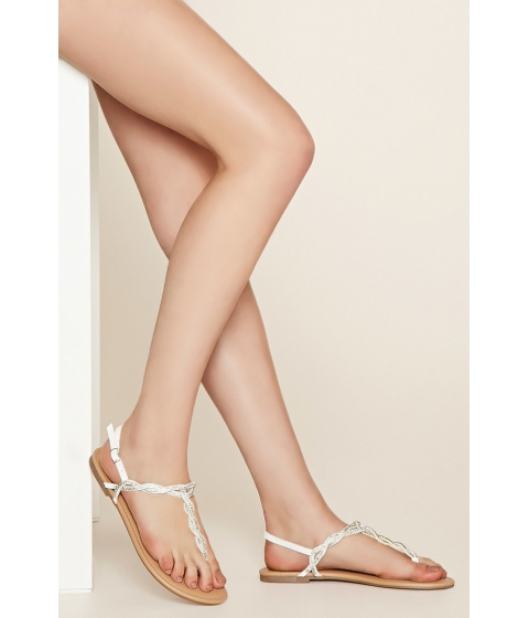 Incaltaminte Femei Forever21 Rhinestone Faux Leather Sandals White