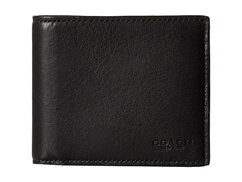 Genti Barbati COACH Sport Calf Compact ID Wallet BlackSurplus