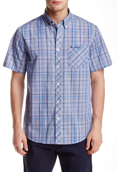 Imbracaminte Barbati Ben Sherman Short Sleeve Checkered Woven Trim Fit Shirt TRUE BLUE