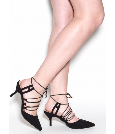 Incaltaminte Femei CheapChic Beck 'n Call Lace-up Faux Suede Heels Black
