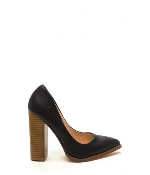 Incaltaminte Femei CheapChic Executive Office Chunky Pointy Toe Heels Black