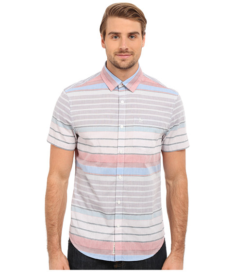 Imbracaminte Barbati Original Penguin Short Sleeve Horizontal Crinkle Stripe Directoire Blue