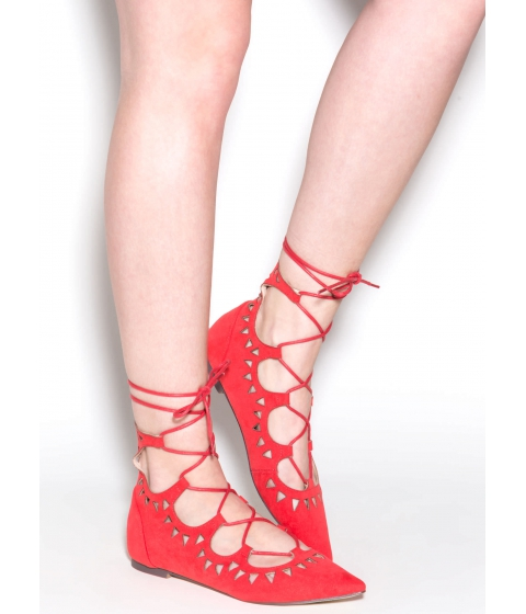 Incaltaminte Femei CheapChic Finders Keepers Pointy Lace-up Flats Coral