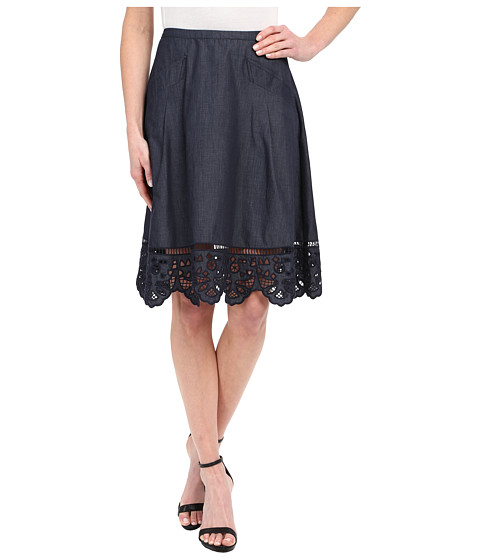 Imbracaminte Femei Adrianna Papell Chambray Skirt with Button Trim Midnight Blue