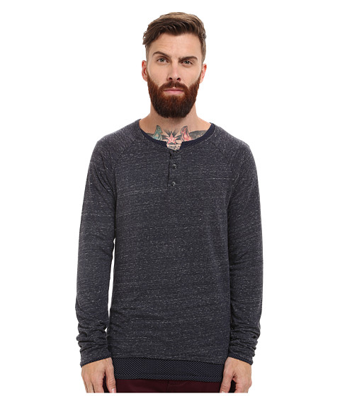Imbracaminte Barbati Scotch Soda Long Sleeve Henley with Inner Tee Denim Blue Melange