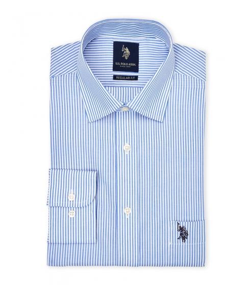 Imbracaminte Barbati US Polo Assn Light Blue White Striped Regular Fit Dress Shirt Ltbluewht