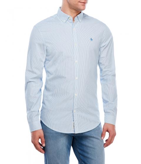 Imbracaminte Barbati Original Penguin Slim Fit Blue White Stripe Shirt Blue White