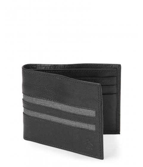 Genti Barbati Original Penguin Black Herringbone Slim Bifold Leather Wallet Black
