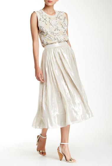 Imbracaminte Femei Alice Olivia Evita Mid Length Silk Blend Skirt SILVER METALLIC