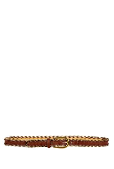 Accesorii Femei Fashion Focus Chain Edge Leather Lined Belt BRWN GOLD