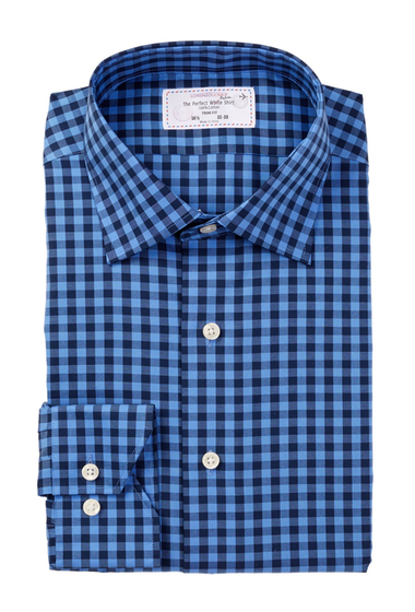 Imbracaminte Barbati Lorenzo Uomo Long Sleeve Trim Fit No Wrinkle Check Dress Shirt BLUE