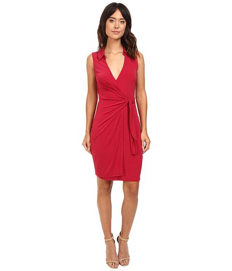 Imbracaminte Femei Christin Michaels Gracy Sleeveless Wrap Dress with Collar Cranberry