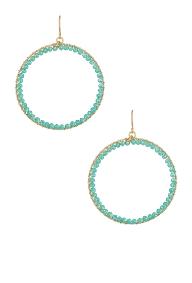 Bijuterii Femei Natasha Accessories Beaded Hoop Earrings AQUA-GOLD