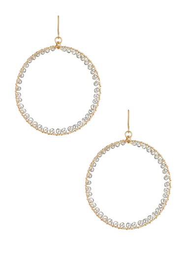 Bijuterii Femei Natasha Accessories Beaded Hoop Earrings GREY-GOLD
