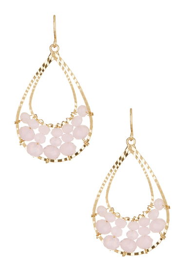 Bijuterii Femei Natasha Accessories Beaded Double Drop Earrings PINK-GOLD