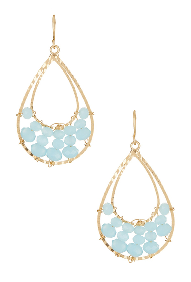 Bijuterii Femei Natasha Accessories Beaded Double Drop Earrings BLUE-GOLD