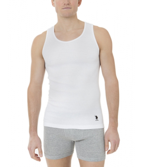 Imbracaminte Barbati US Polo Assn 3 Pack Rib Tank Optic White