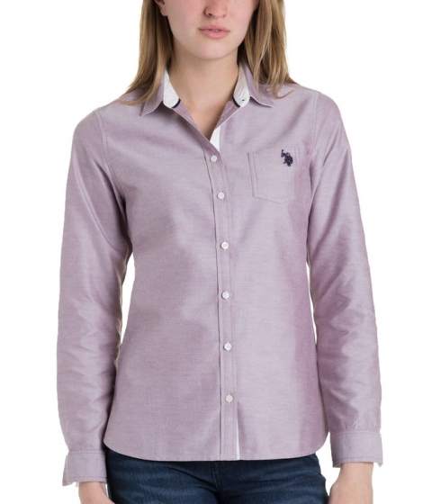 Imbracaminte Femei US Polo Assn Solid Pocket Oxford PURPLE POTION