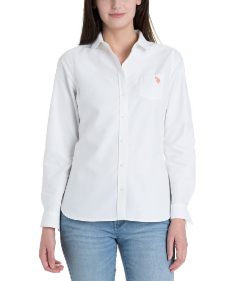 Imbracaminte Femei US Polo Assn Solid Pocket Oxford Optic White