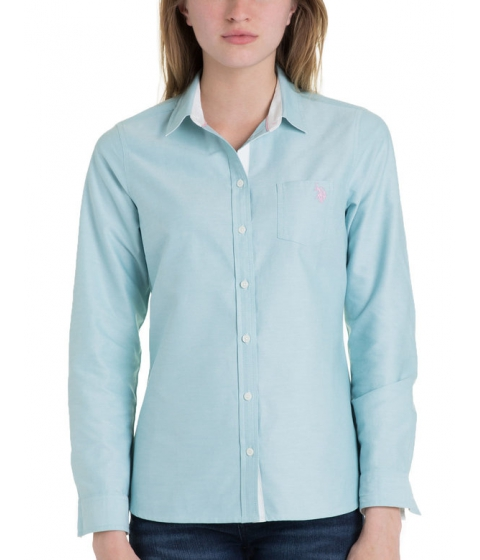 Imbracaminte Femei US Polo Assn Solid Pocket Oxford NILE BLUE