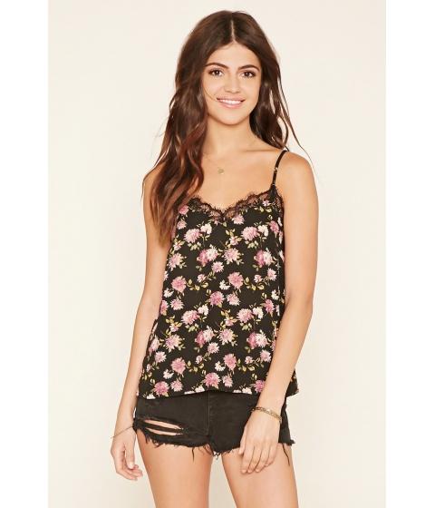 Imbracaminte Femei Forever21 Lace-Trim Floral Cami Blackpurple