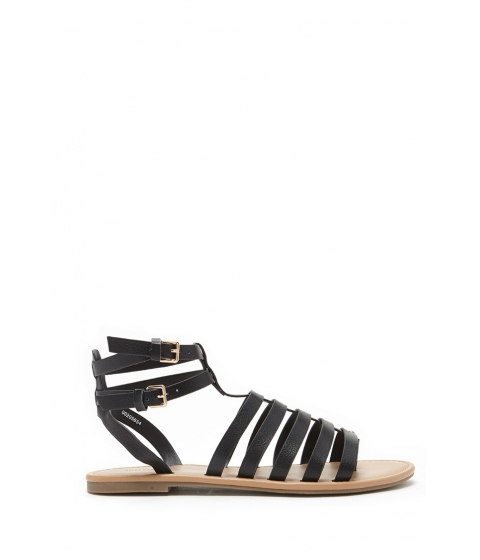 Incaltaminte Femei Forever21 Strappy Faux Leather Sandals Black