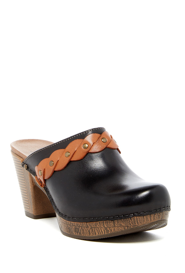 Incaltaminte Femei Dansko Rach Leather Two-Tone Clog BLACK