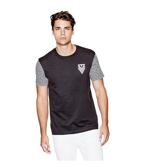 Imbracaminte Barbati GUESS Bray Houndstooth Tee jet black