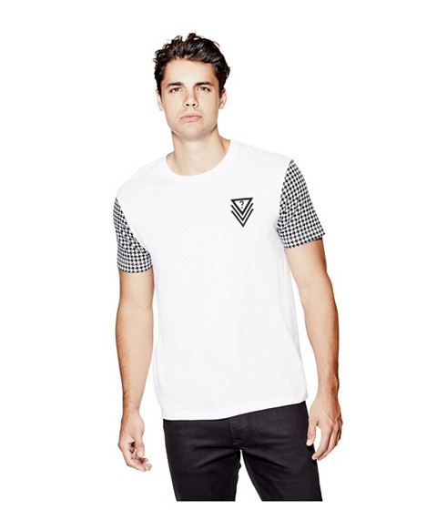 Imbracaminte Barbati GUESS Bray Houndstooth Tee true white
