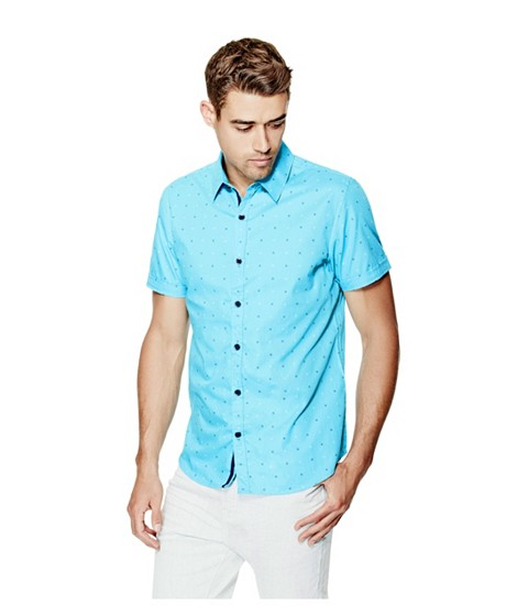 Imbracaminte Barbati GUESS Danilo Short-Sleeve Printed Poplin Shirt river blue