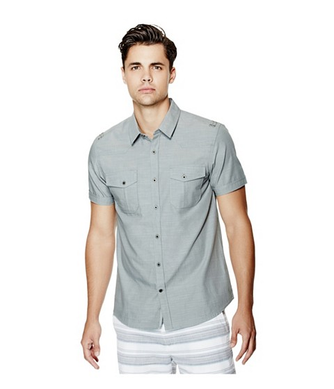 Imbracaminte Barbati GUESS Gershon Short-Sleeve Chambray Shirt divine grey