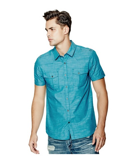 Imbracaminte Barbati GUESS Gershon Short-Sleeve Chambray Shirt bermuda blue
