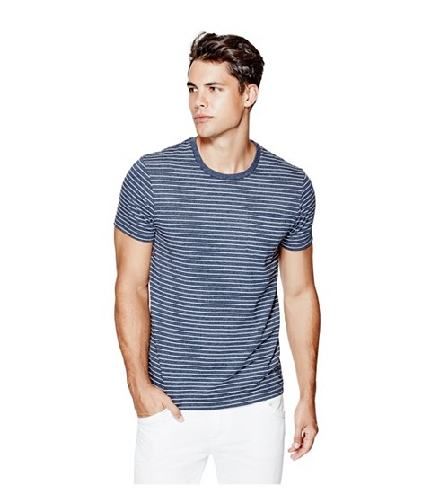 Imbracaminte Barbati GUESS Jett Striped Tee officer blue