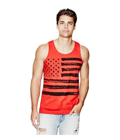 Imbracaminte Barbati GUESS Ozzie Flag Tank red hot